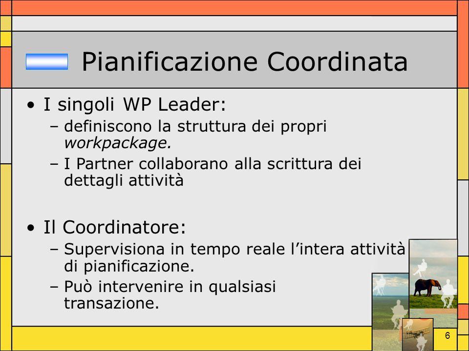 6 Pianificazione Coordinata I singoli WP Leader: –definiscono la struttura dei propri workpackage. –I Partner collaborano alla scrittura dei dettagli