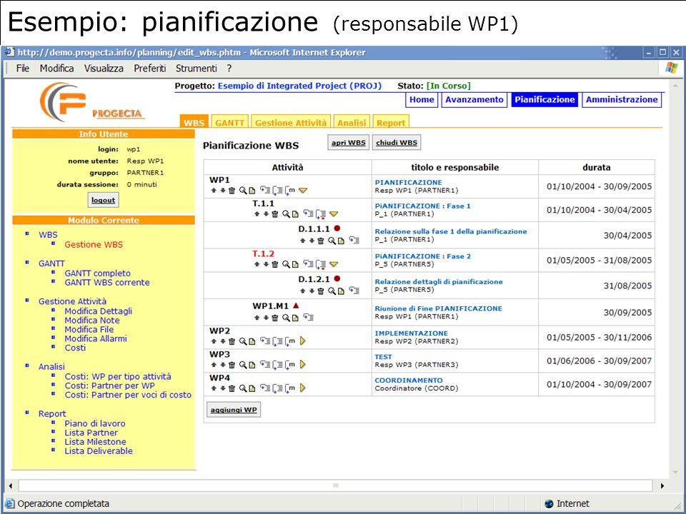 7 Esempio: pianificazione (responsabile WP1)
