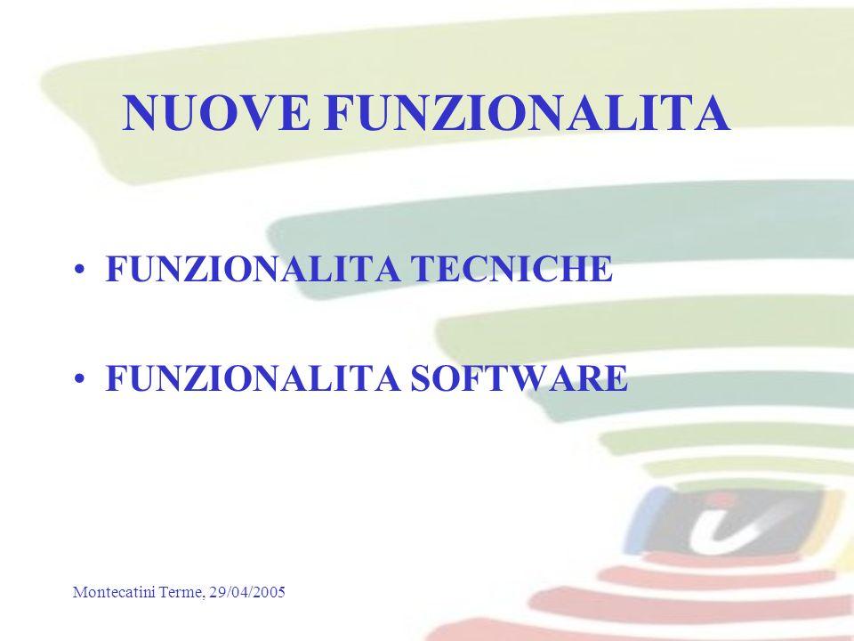 Montecatini Terme, 29/04/2005 NUOVE FUNZIONALITA FUNZIONALITA TECNICHE FUNZIONALITA SOFTWARE