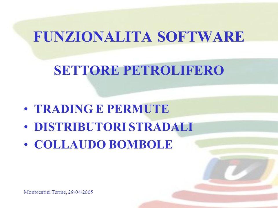 Montecatini Terme, 29/04/2005 FUNZIONALITA SOFTWARE SETTORE PETROLIFERO TRADING E PERMUTE DISTRIBUTORI STRADALI COLLAUDO BOMBOLE