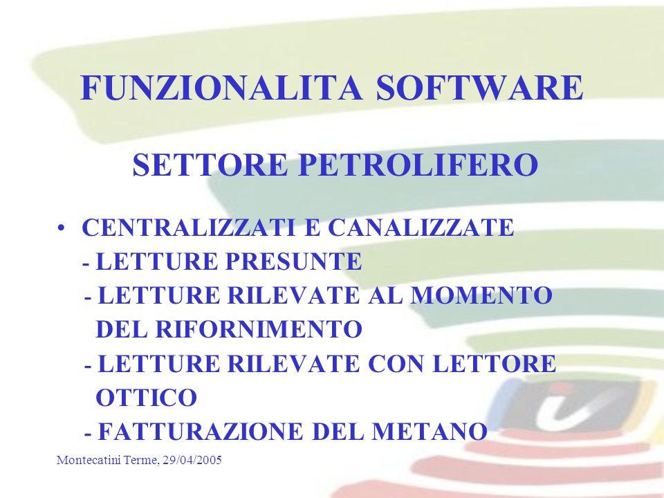 Montecatini Terme, 29/04/2005 FUNZIONALITA SOFTWARE SETTORE PETROLIFERO CENTRALIZZATI E CANALIZZATE - LETTURE PRESUNTE - LETTURE RILEVATE AL MOMENTO DEL RIFORNIMENTO - LETTURE RILEVATE CON LETTORE OTTICO - FATTURAZIONE DEL METANO