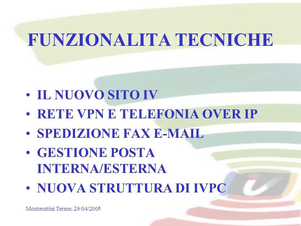 Montecatini Terme, 29/04/2005 FUNZIONALITA TECNICHE IL NUOVO SITO IV RETE VPN E TELEFONIA OVER IP SPEDIZIONE FAX E-MAIL GESTIONE POSTA INTERNA/ESTERNA NUOVA STRUTTURA DI IVPC