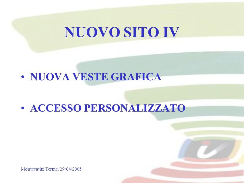 Montecatini Terme, 29/04/2005 NUOVO SITO IV NUOVA VESTE GRAFICA ACCESSO PERSONALIZZATO