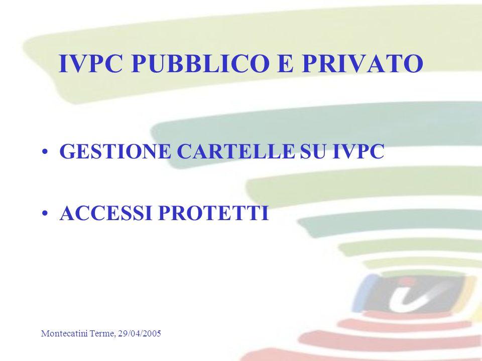 Montecatini Terme, 29/04/2005 IVPC PUBBLICO E PRIVATO GESTIONE CARTELLE SU IVPC ACCESSI PROTETTI