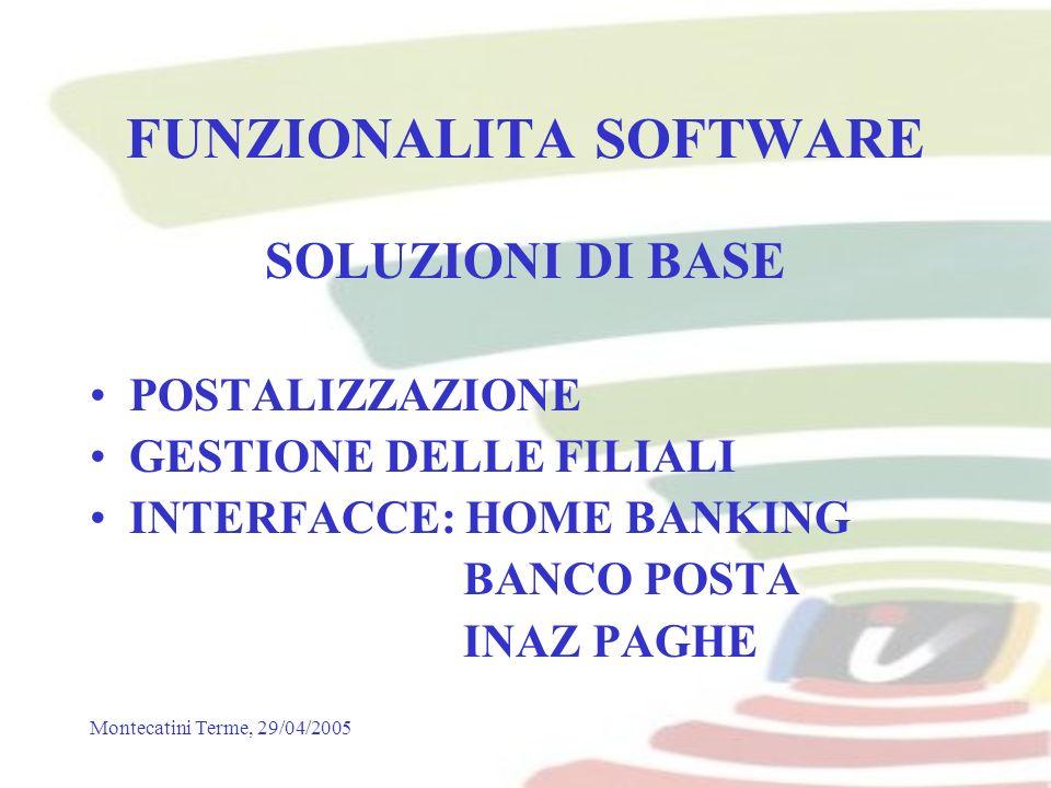 Montecatini Terme, 29/04/2005 FUNZIONALITA SOFTWARE SOLUZIONI DI BASE POSTALIZZAZIONE GESTIONE DELLE FILIALI INTERFACCE: HOME BANKING BANCO POSTA INAZ PAGHE
