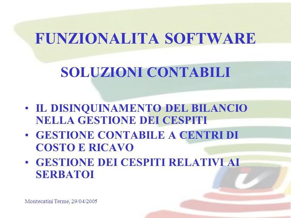Montecatini Terme, 29/04/2005 FUNZIONALITA SOFTWARE SOLUZIONI CONTABILI IL DISINQUINAMENTO DEL BILANCIO NELLA GESTIONE DEI CESPITI GESTIONE CONTABILE A CENTRI DI COSTO E RICAVO GESTIONE DEI CESPITI RELATIVI AI SERBATOI