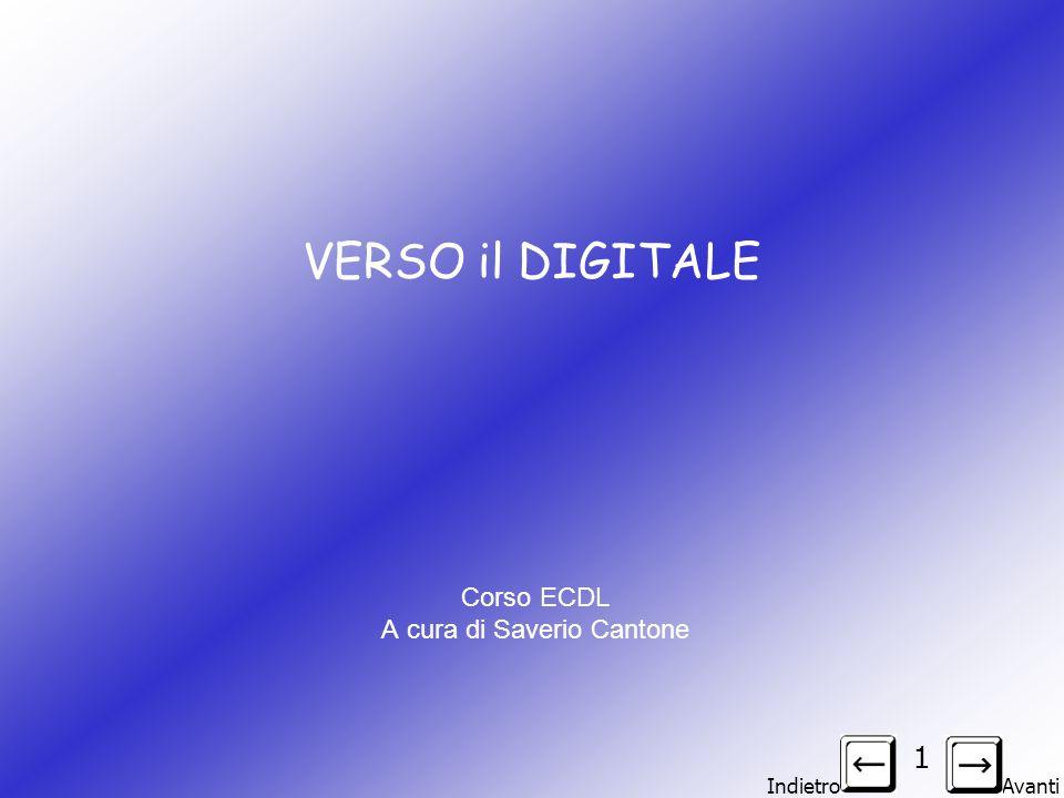 Indietro Avanti 1 VERSO il DIGITALE Corso ECDL A cura di Saverio Cantone