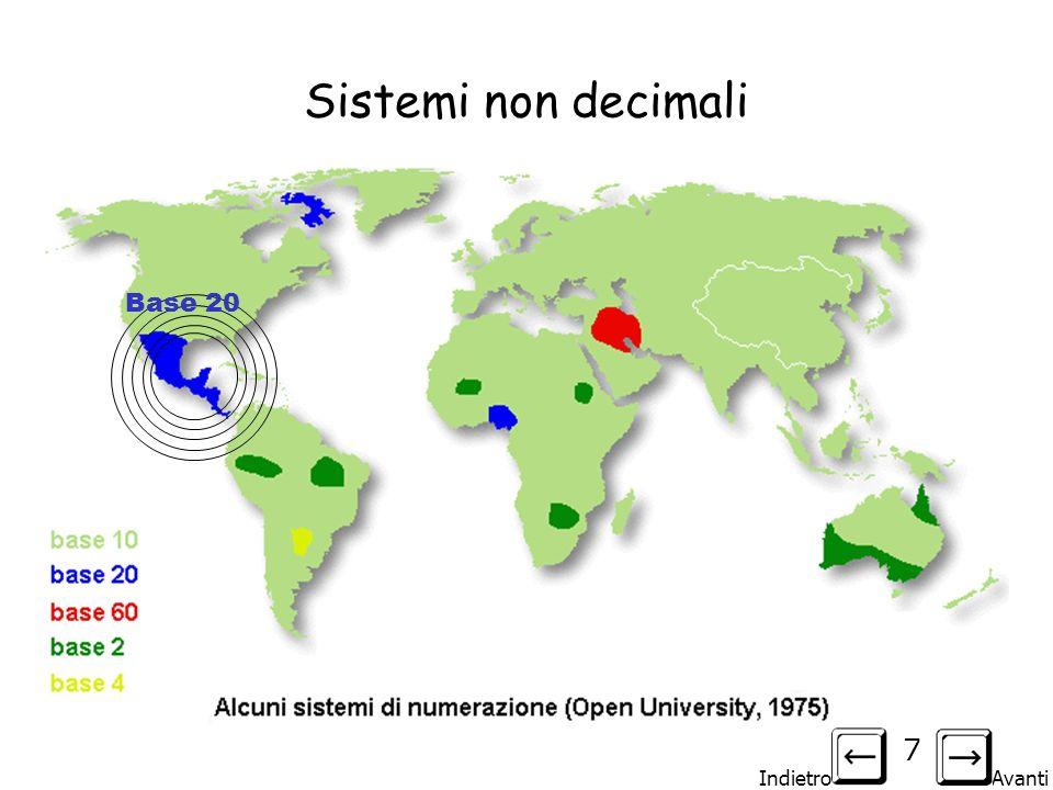 Indietro Avanti 7 Sistemi non decimali Base 20