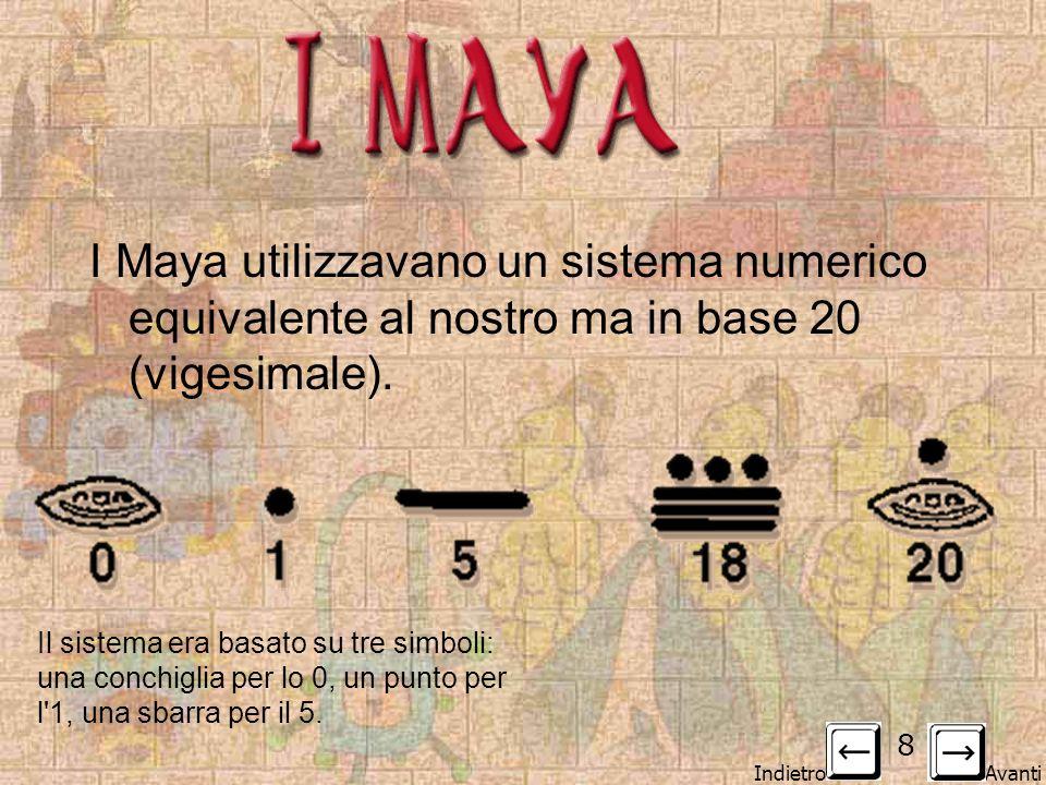 Indietro Avanti 8 IMAYAIMAYA I Maya utilizzavano un sistema numerico equivalente al nostro ma in base 20 (vigesimale). Il sistema era basato su tre si