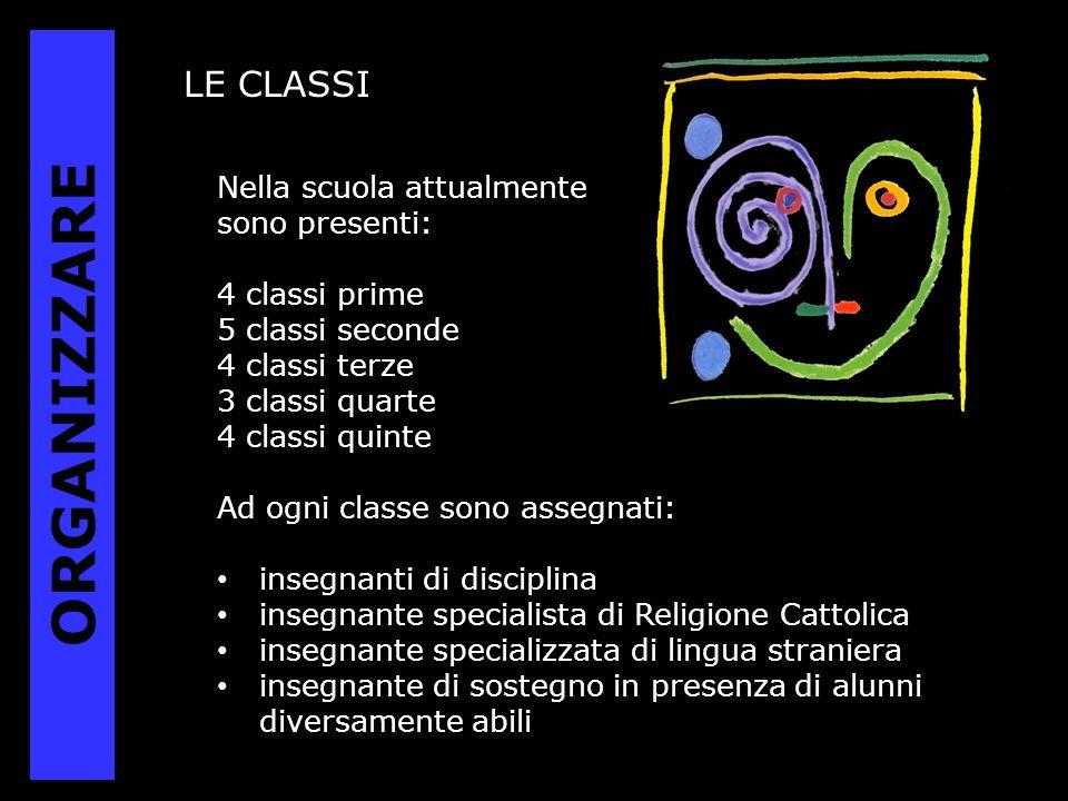 LE CLASSI Nella scuola attualmente sono presenti: 4 classi prime 5 classi seconde 4 classi terze 3 classi quarte 4 classi quinte Ad ogni classe sono a
