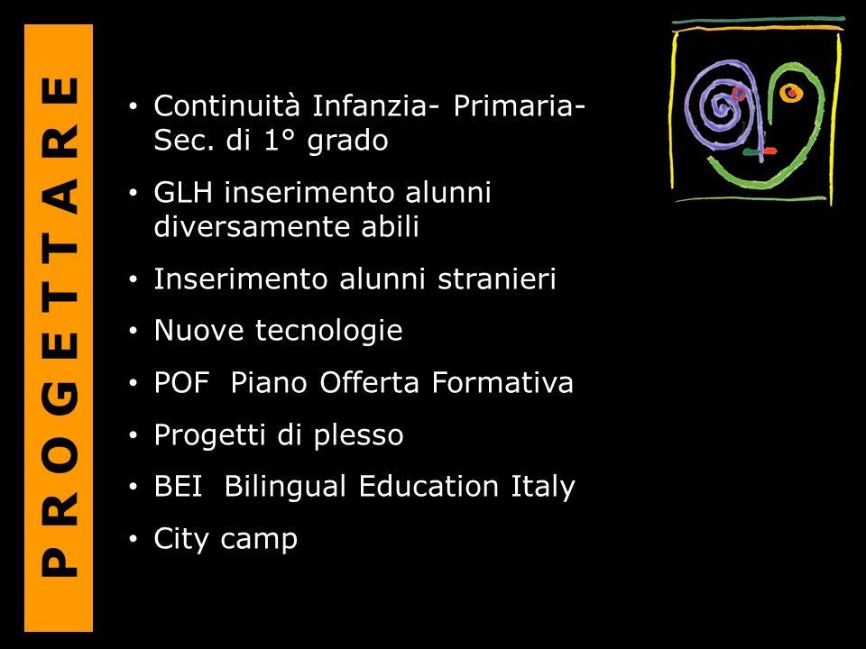 Continuità Infanzia- Primaria- Sec. di 1° grado GLH inserimento alunni diversamente abili Inserimento alunni stranieri Nuove tecnologie POF Piano Offe