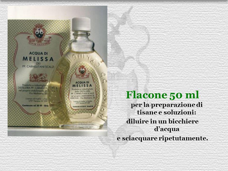 Flacone 50 ml per la preparazione di tisane e soluzioni: diluire in un bicchiere dacqua e sciacquare ripetutamente.