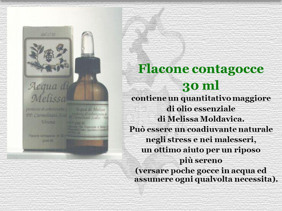 Flacone contagocce 30 ml contiene un quantitativo maggiore di olio essenziale di Melissa Moldavica. Può essere un coadiuvante naturale negli stress e