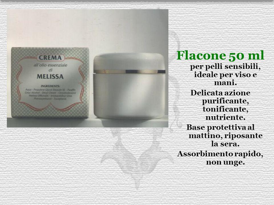 Flacone 50 ml per pelli sensibili, ideale per viso e mani. Delicata azione purificante, tonificante, nutriente. Base protettiva al mattino, riposante