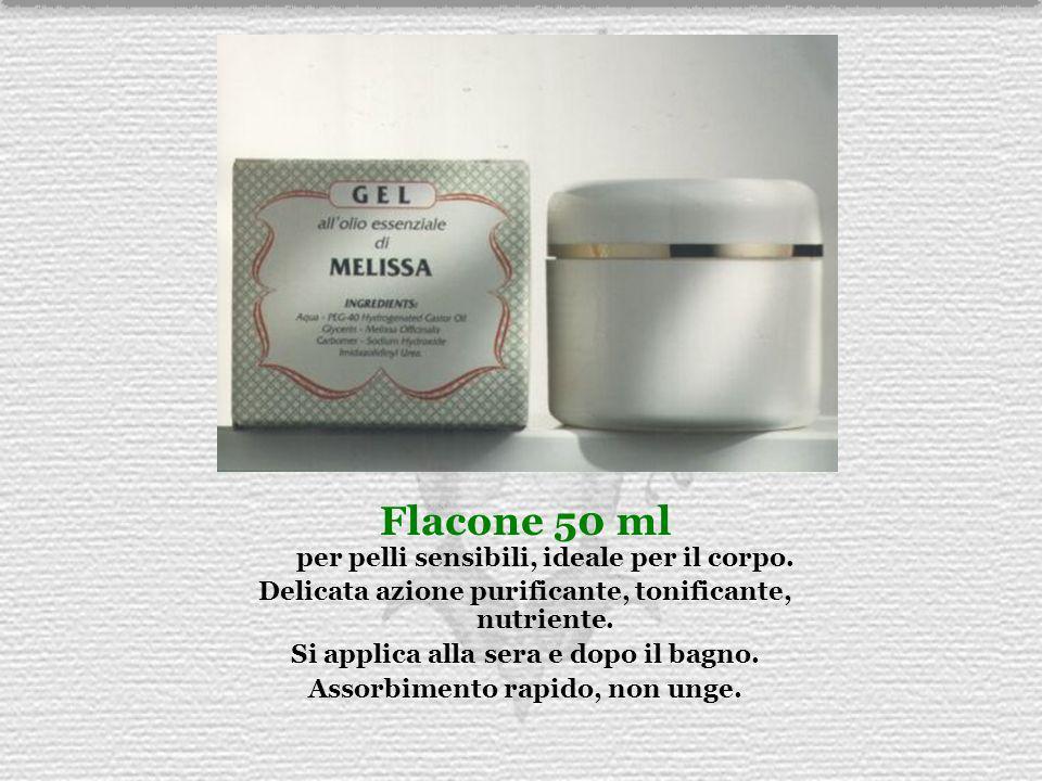 Flacone 50 ml per pelli sensibili, ideale per il corpo. Delicata azione purificante, tonificante, nutriente. Si applica alla sera e dopo il bagno. Ass