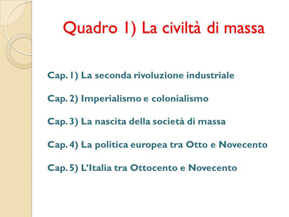 Quadro 1) La civiltà di massa Cap. 1) La seconda rivoluzione industriale Cap. 2) Imperialismo e colonialismo Cap. 3) La nascita della società di massa