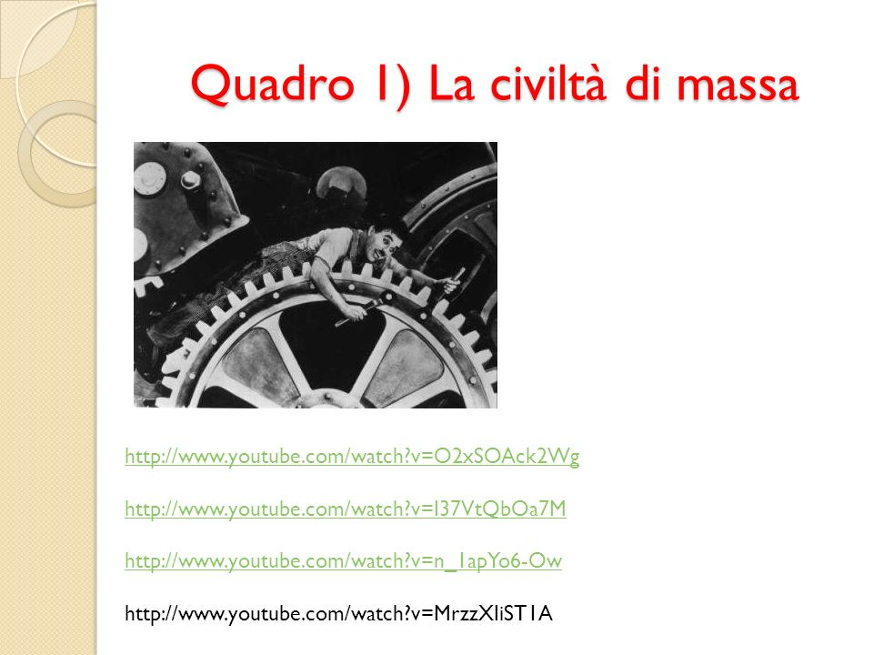 Quadro 1) La civiltà di massa http://www.youtube.com/watch?v=O2xSOAck2Wg http://www.youtube.com/watch?v=I37VtQbOa7M http://www.youtube.com/watch?v=n_1