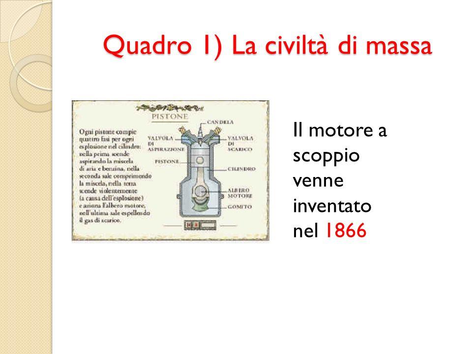 Quadro 1) La civiltà di massa Il motore a scoppio venne inventato nel 1866