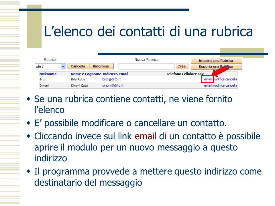 Lelenco dei contatti di una rubrica Se una rubrica contiene contatti, ne viene fornito lelenco E possibile modificare o cancellare un contatto.
