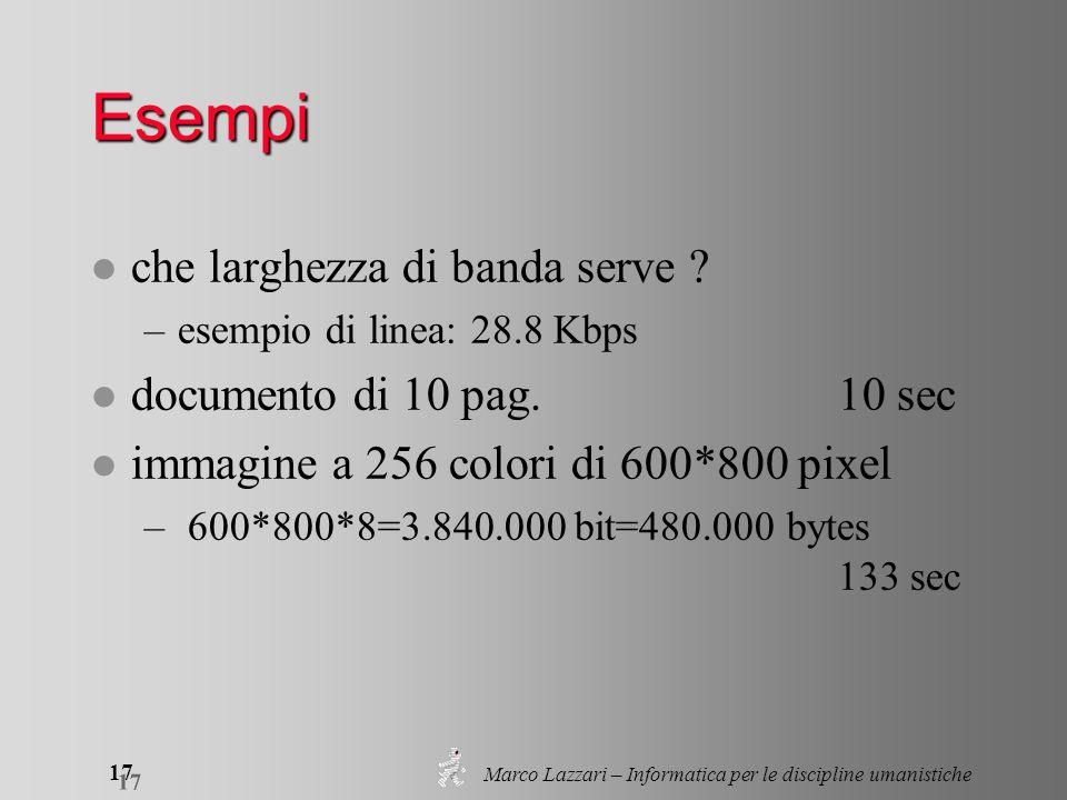 Marco Lazzari – Informatica per le discipline umanistiche 17 Esempi l che larghezza di banda serve ? –esempio di linea: 28.8 Kbps l documento di 10 pa