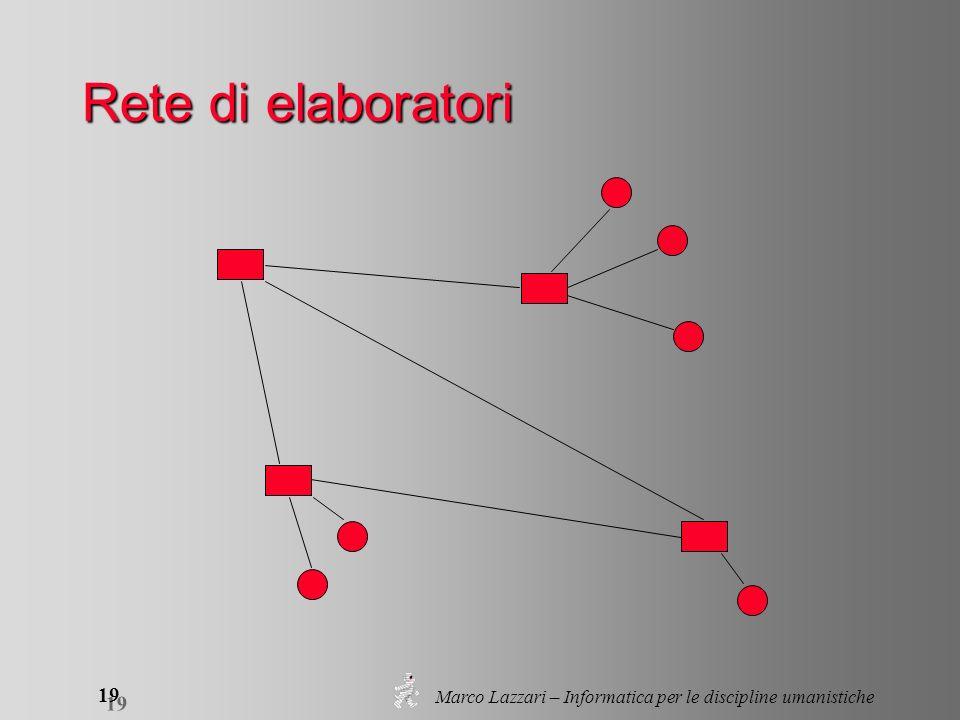 Marco Lazzari – Informatica per le discipline umanistiche 19 Rete di elaboratori