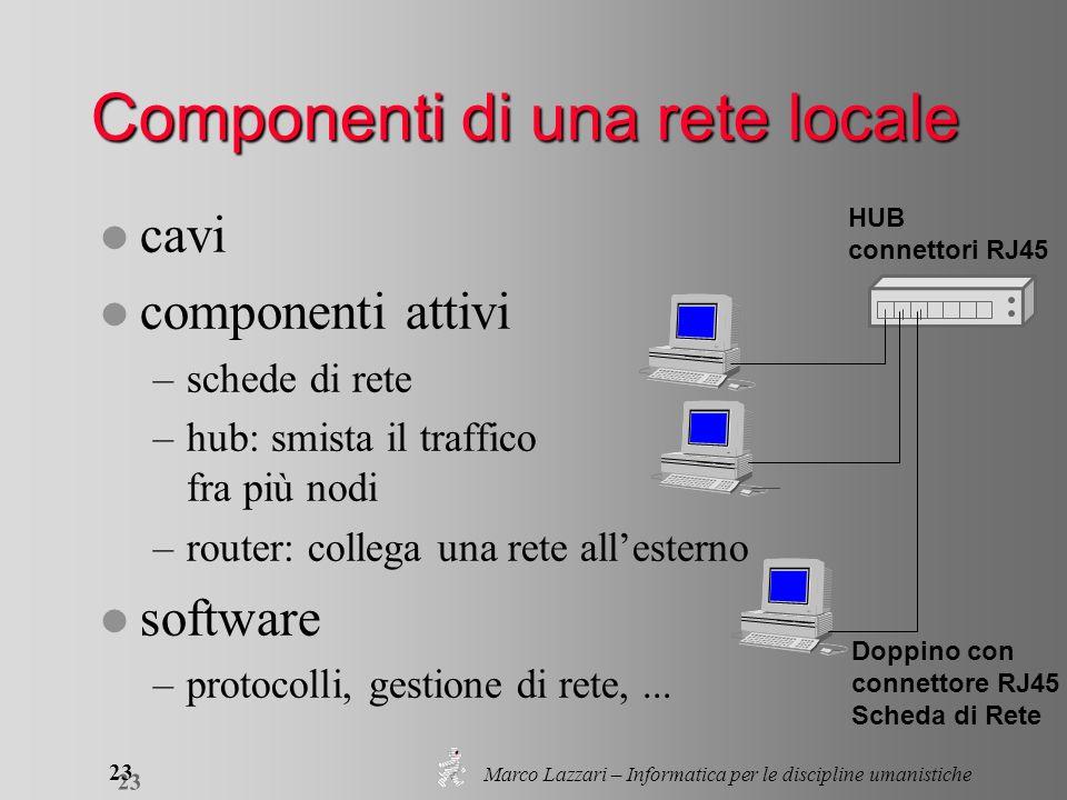 Marco Lazzari – Informatica per le discipline umanistiche 23 l cavi l componenti attivi –schede di rete –hub: smista il traffico fra più nodi –router: