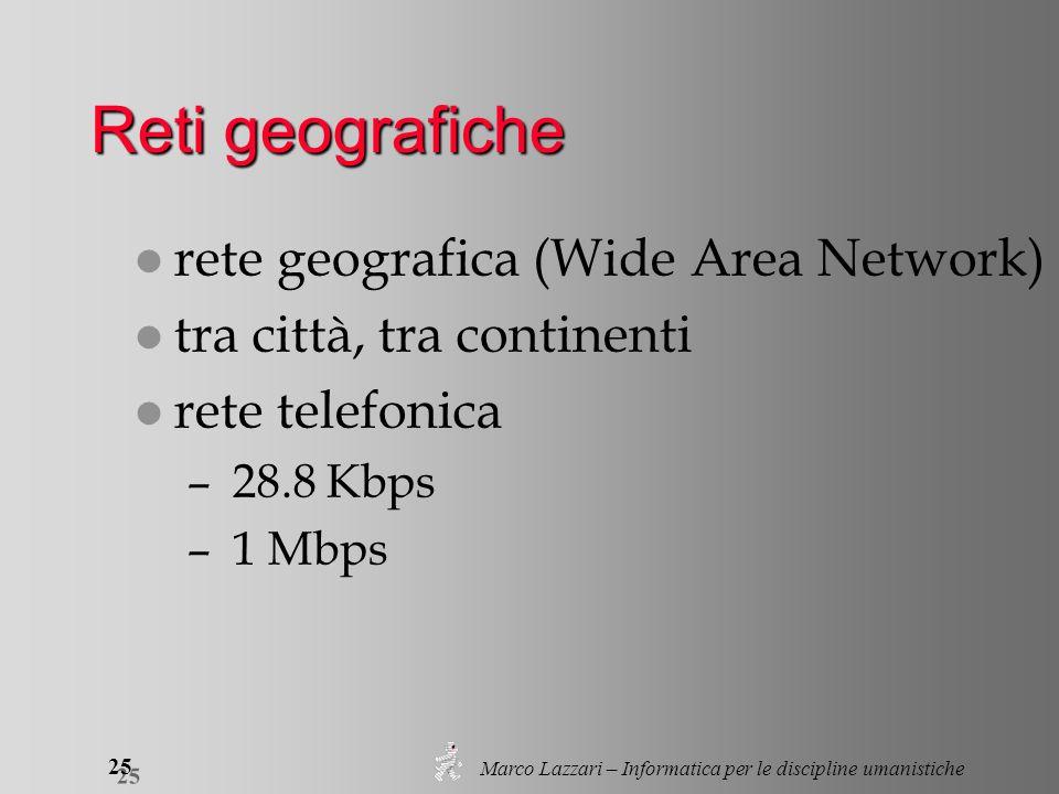 Marco Lazzari – Informatica per le discipline umanistiche 25 Reti geografiche l rete geografica (Wide Area Network) l tra città, tra continenti l rete telefonica – 28.8 Kbps – 1 Mbps