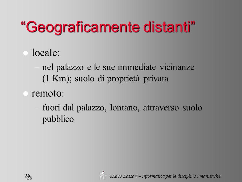 Marco Lazzari – Informatica per le discipline umanistiche 26 Geograficamente distanti l locale: –nel palazzo e le sue immediate vicinanze (1 Km); suol