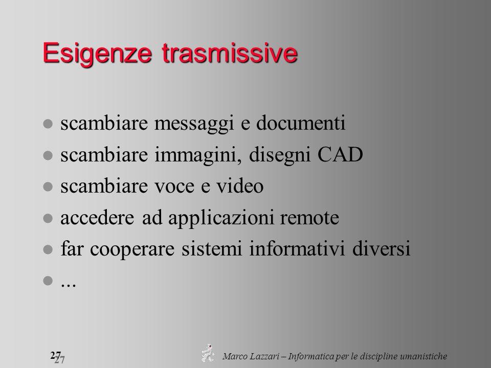 Marco Lazzari – Informatica per le discipline umanistiche 27 Esigenze trasmissive l scambiare messaggi e documenti l scambiare immagini, disegni CAD l