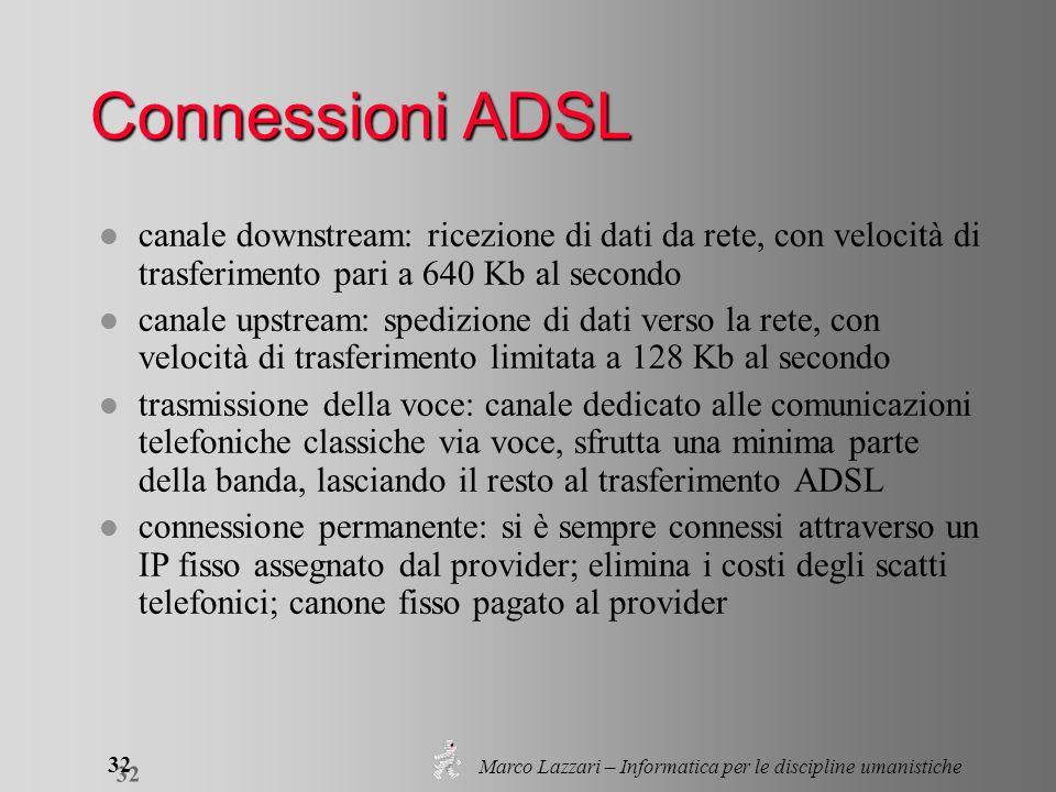 Marco Lazzari – Informatica per le discipline umanistiche 32 Connessioni ADSL l canale downstream: ricezione di dati da rete, con velocità di trasferi
