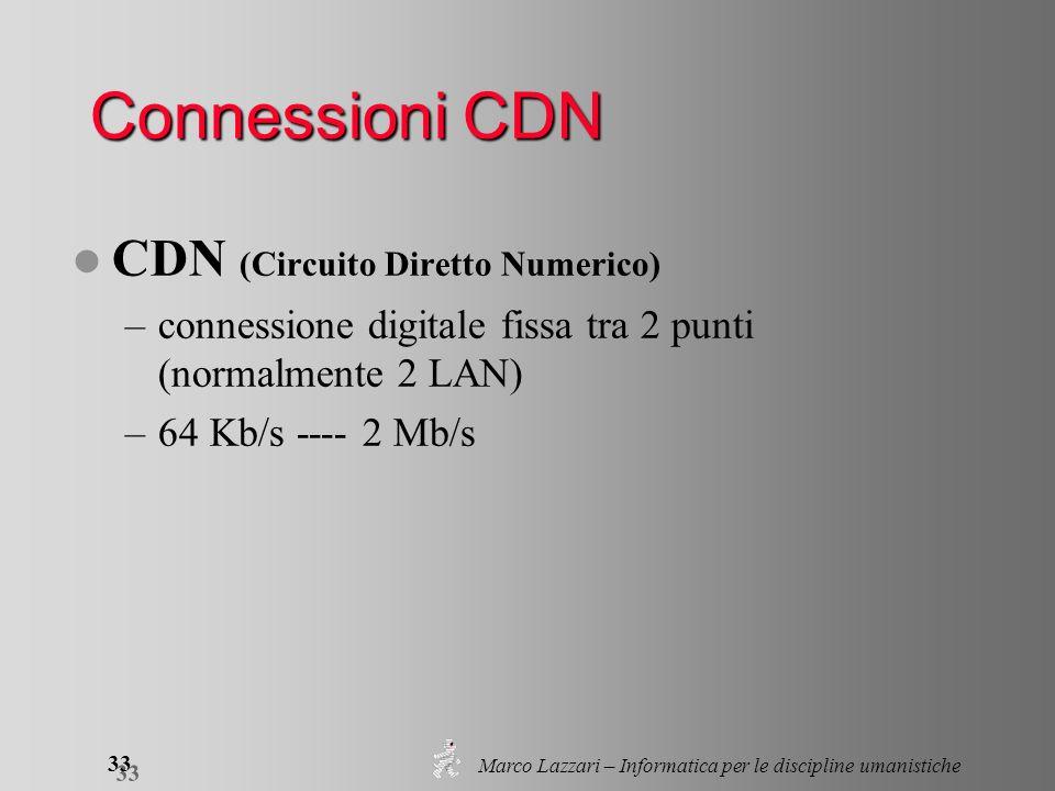 Marco Lazzari – Informatica per le discipline umanistiche 33 Connessioni CDN l CDN (Circuito Diretto Numerico) –connessione digitale fissa tra 2 punti