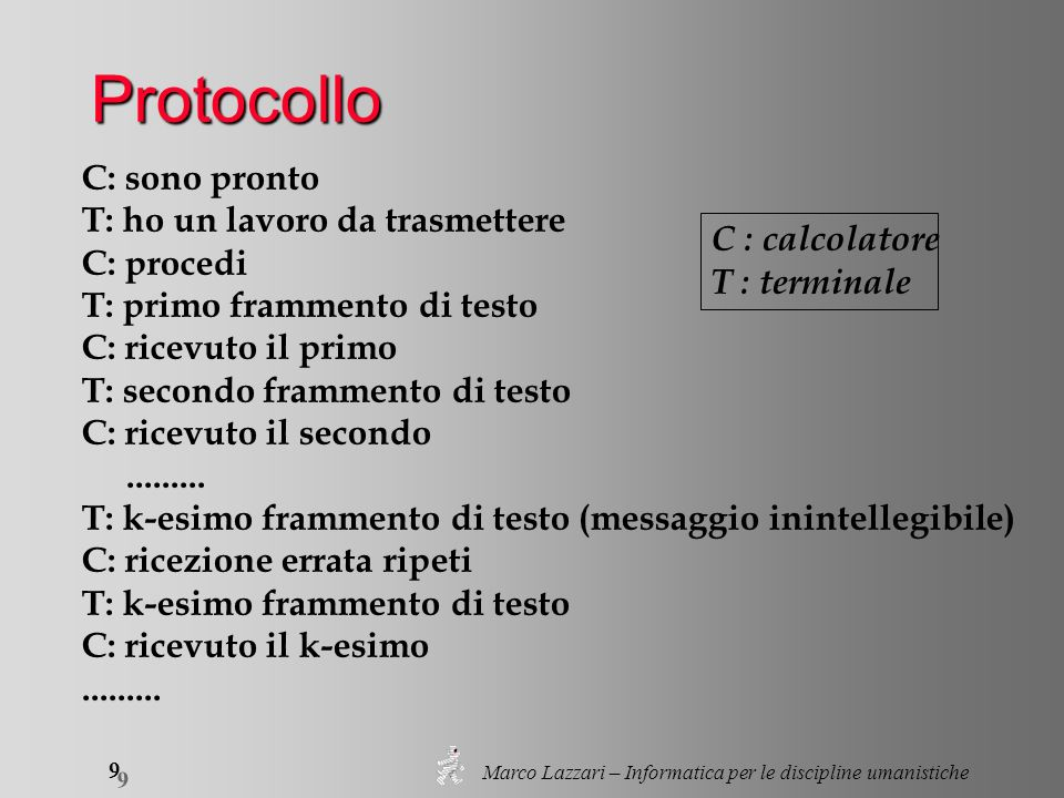 Marco Lazzari – Informatica per le discipline umanistiche 9 9 Protocollo C: sono pronto T: ho un lavoro da trasmettere C: procedi T: primo frammento di testo C: ricevuto il primo T: secondo frammento di testo C: ricevuto il secondo.........