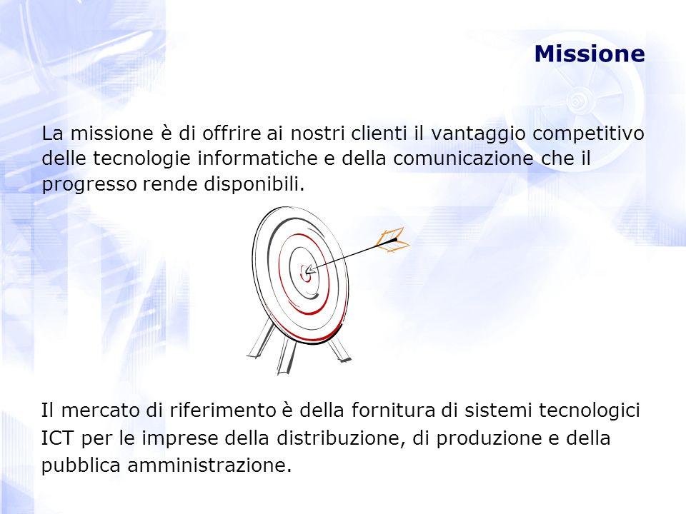 Missione La missione è di offrire ai nostri clienti il vantaggio competitivo delle tecnologie informatiche e della comunicazione che il progresso rende disponibili.