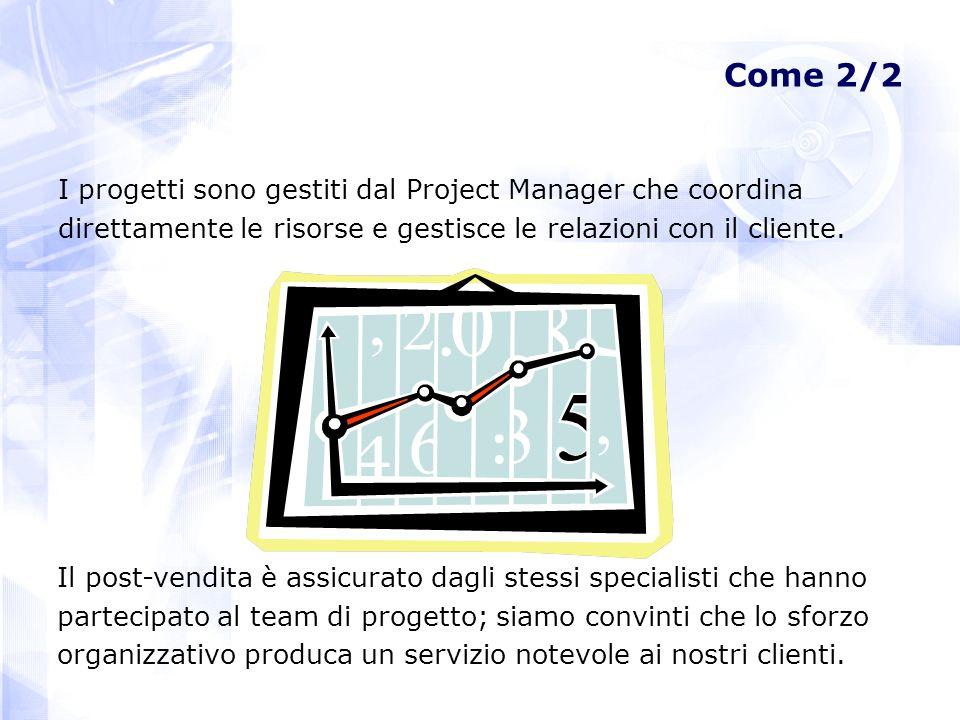 Come 2/2 I progetti sono gestiti dal Project Manager che coordina direttamente le risorse e gestisce le relazioni con il cliente. Il post-vendita è as