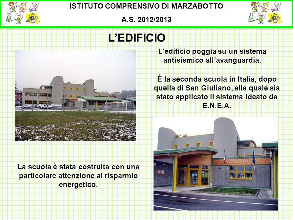 LEDIFICIO ISTITUTO COMPRENSIVO DI MARZABOTTO A.S. 2012/2013 Ledificio poggia su un sistema antisismico allavanguardia. La scuola è stata costruita con
