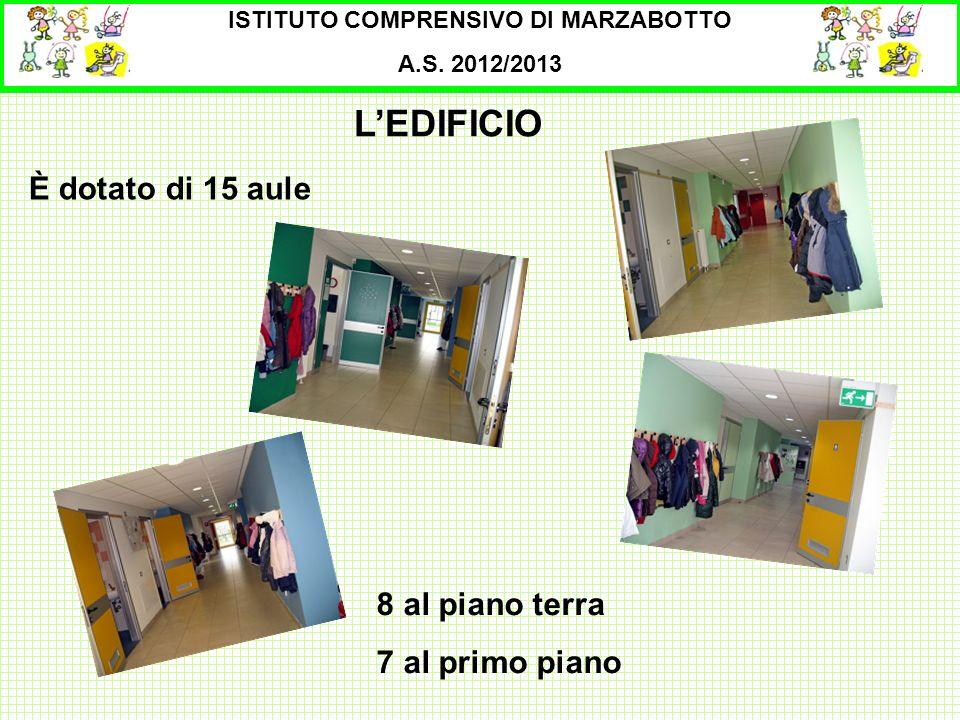 ISTITUTO COMPRENSIVO DI MARZABOTTO A.S. 2012/2013 È dotato di 15 aule LEDIFICIO 8 al piano terra 7 al primo piano