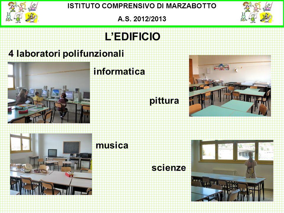 ISTITUTO COMPRENSIVO DI MARZABOTTO A.S. 2012/2013 4 laboratori polifunzionali LEDIFICIO musica informatica scienze pittura
