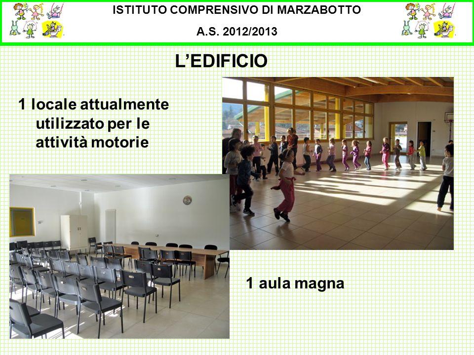 ISTITUTO COMPRENSIVO DI MARZABOTTO A.S. 2012/2013 1 locale attualmente utilizzato per le attività motorie LEDIFICIO 1 aula magna