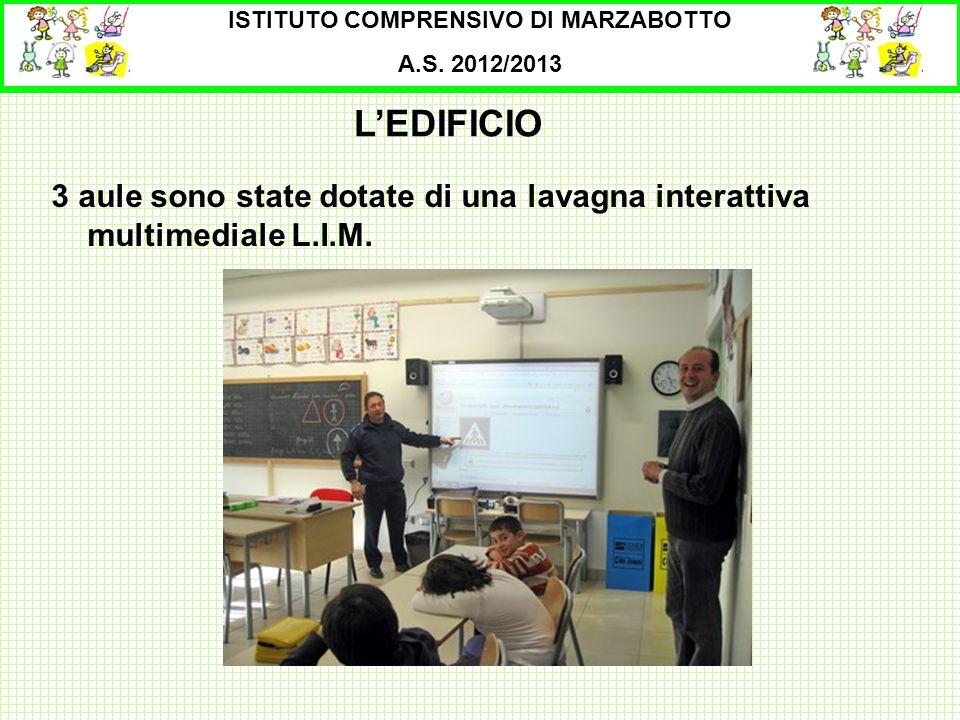 ISTITUTO COMPRENSIVO DI MARZABOTTO A.S. 2012/2013 3 aule sono state dotate di una lavagna interattiva multimediale L.I.M. LEDIFICIO