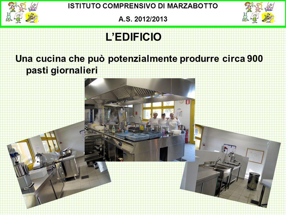 ISTITUTO COMPRENSIVO DI MARZABOTTO A.S. 2012/2013 Una cucina che può potenzialmente produrre circa 900 pasti giornalieri LEDIFICIO