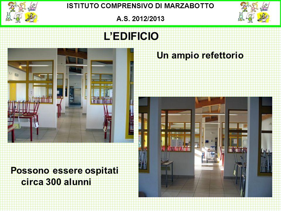 ISTITUTO COMPRENSIVO DI MARZABOTTO A.S. 2012/2013 Un ampio refettorio LEDIFICIO Possono essere ospitati circa 300 alunni