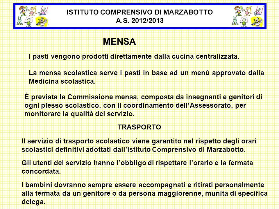ISTITUTO COMPRENSIVO DI MARZABOTTO A.S. 2012/2013 MENSA La mensa scolastica serve i pasti in base ad un menù approvato dalla Medicina scolastica. I pa