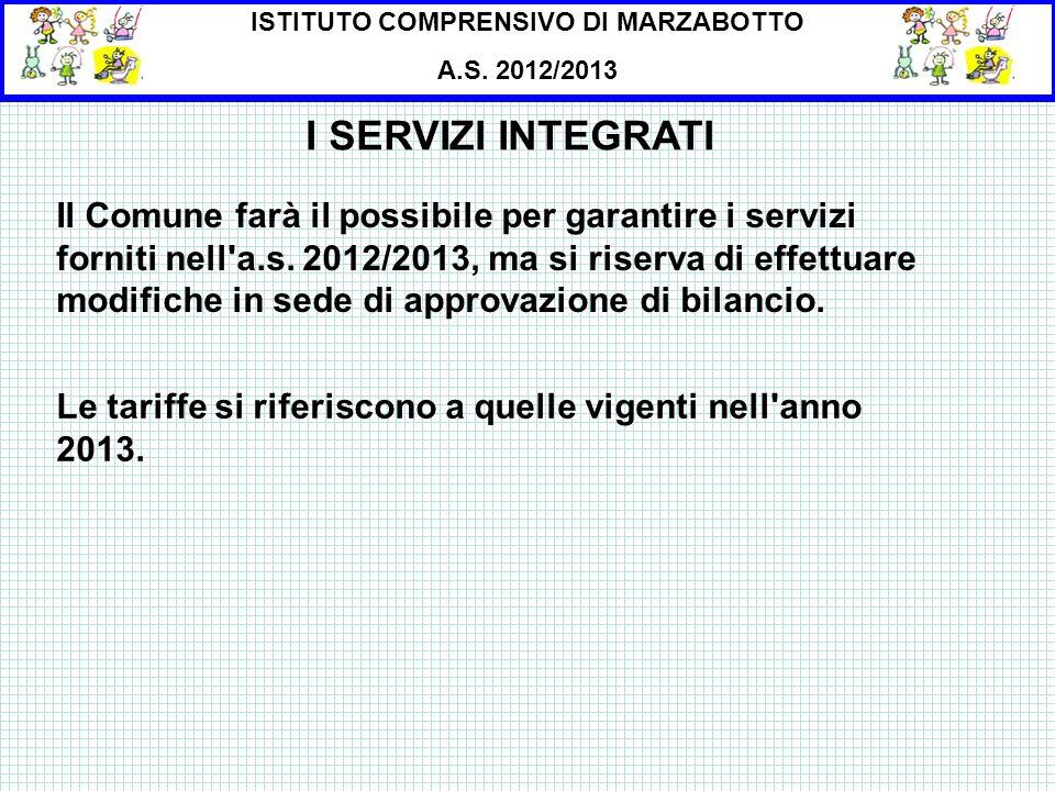 ISTITUTO COMPRENSIVO DI MARZABOTTO A.S. 2012/2013 I SERVIZI INTEGRATI Il Comune farà il possibile per garantire i servizi forniti nell'a.s. 2012/2013,