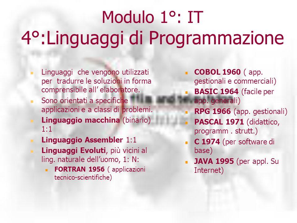 Modulo 1°: IT 4°:Linguaggi di Programmazione Linguaggi che vengono utilizzati per tradurre le soluzioni in forma comprensibile all elaboratore.