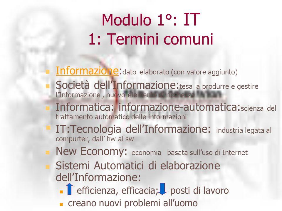 Modulo 1°: IT 1: Termini comuni Informazione: dato elaborato (con valore aggiunto) Informazione Società dellInformazione: tesa a produrre e gestire lInformazione, nuovo elemento di ricchezza Informatica: informazione-automatica: scienza del trattamento automatico delle informazioni IT:Tecnologia dellInformazione: industria legata al compurter, dall hw al sw New Economy: economia basata sulluso di Internet Sistemi Automatici di elaborazione dellInformazione: efficienza, efficacia; posti di lavoro creano nuovi problemi alluomo