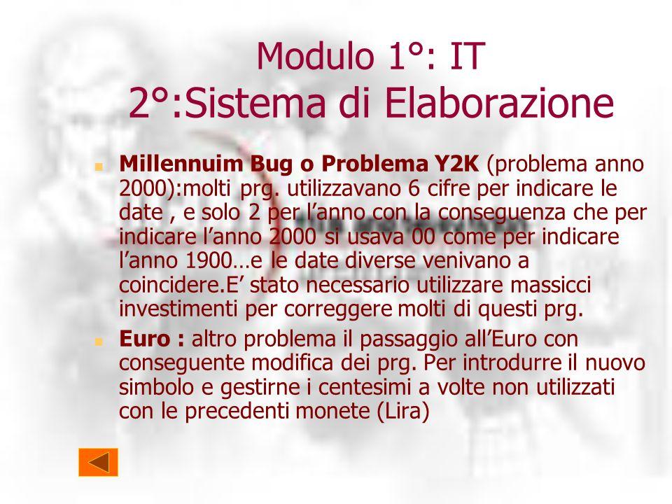 Modulo 1°: IT 2°:Sistema di Elaborazione Millennuim Bug o Problema Y2K (problema anno 2000):molti prg.