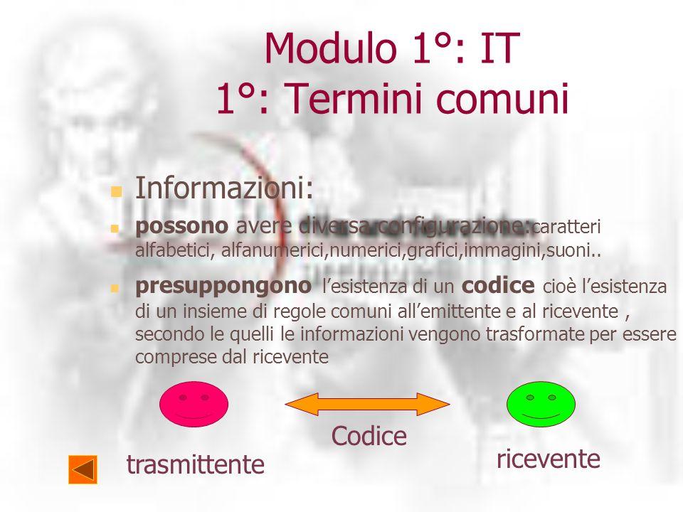 Modulo 1°: IT 1°: Termini comuni Informazioni: possono avere diversa configurazione: caratteri alfabetici, alfanumerici,numerici,grafici,immagini,suoni..