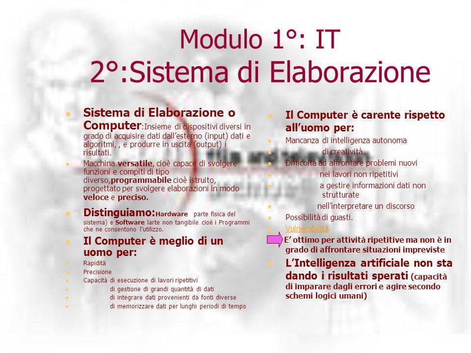 Modulo 1°: IT 2°:Sistema di Elaborazione Sistema di Elaborazione o Computer :Insieme di dispositivi diversi in grado di acquisire dati dallesterno (input) dati e algoritmi,, e produrre in uscita (output) i risultati.