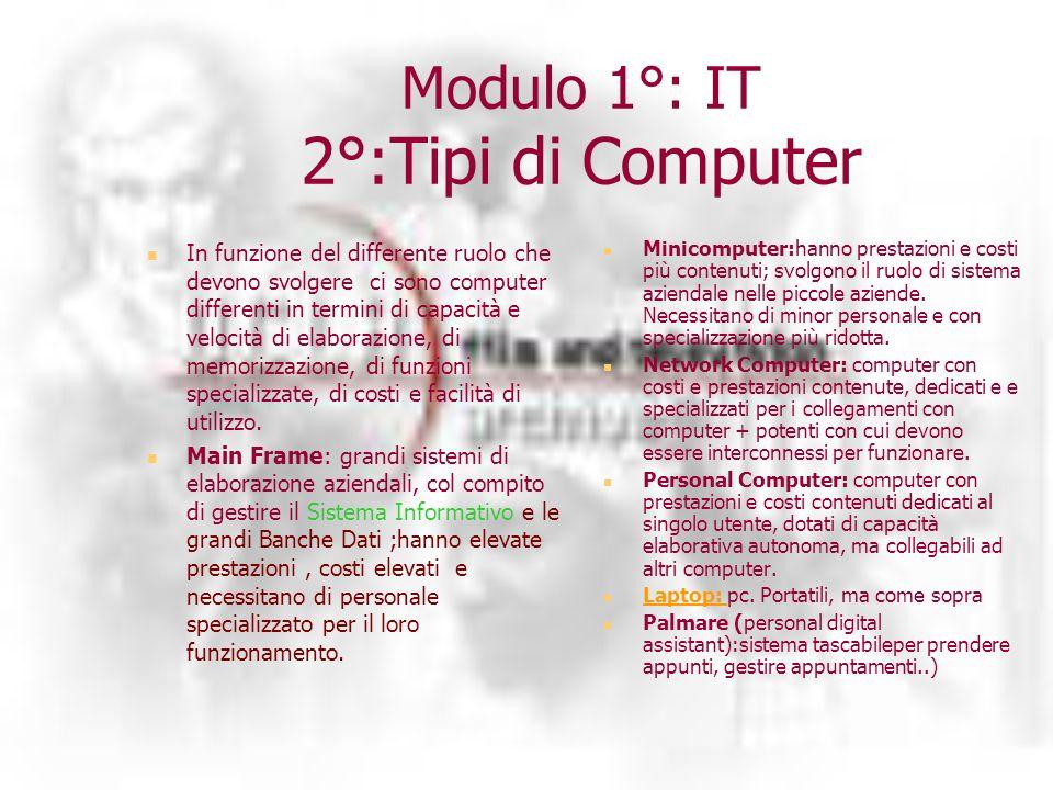 Modulo 1°: IT 2°:Tipi di Computer In funzione del differente ruolo che devono svolgere ci sono computer differenti in termini di capacità e velocità di elaborazione, di memorizzazione, di funzioni specializzate, di costi e facilità di utilizzo.