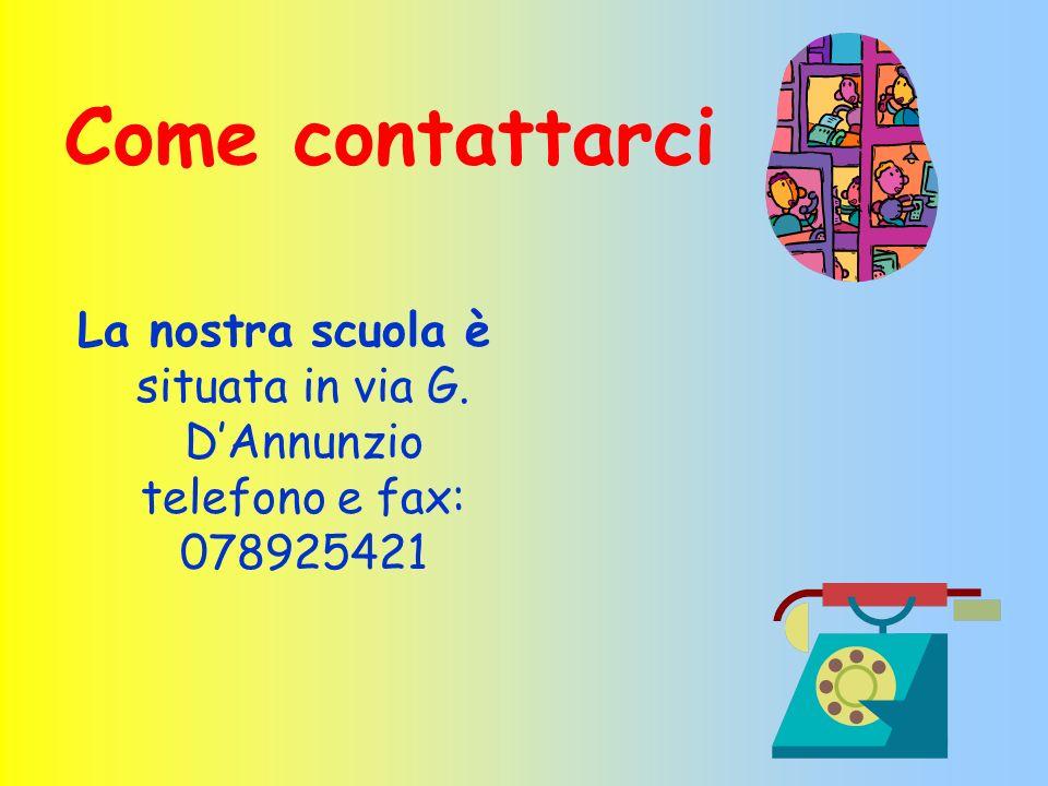 Come contattarci La nostra scuola è situata in via G. DAnnunzio telefono e fax: 078925421